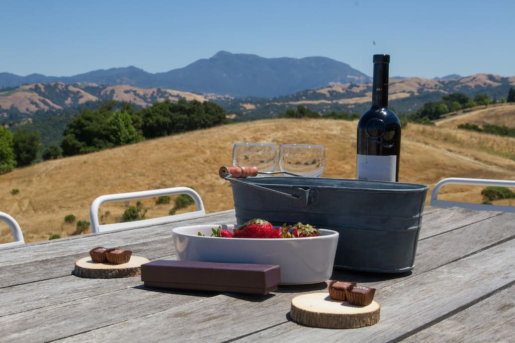 Views of Mount St. Helena from the outdoor BBQ & patio space