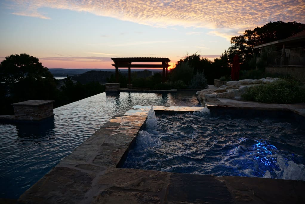 easterly view Canyon Lake and pool and heated spa