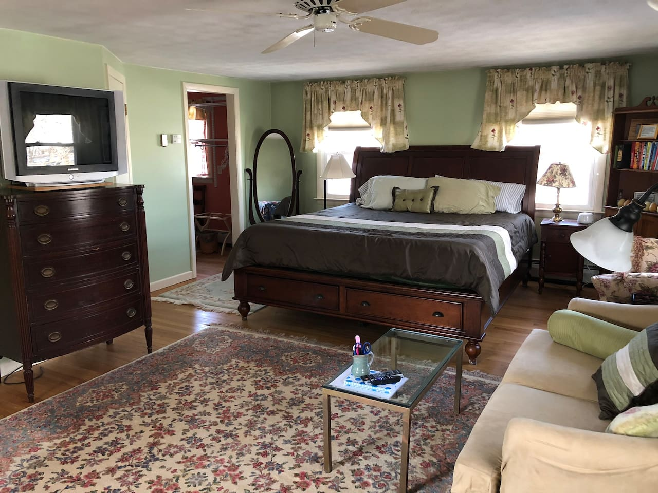 Our guest suite includes the king size bed, loveseat and walk-in closet shown here