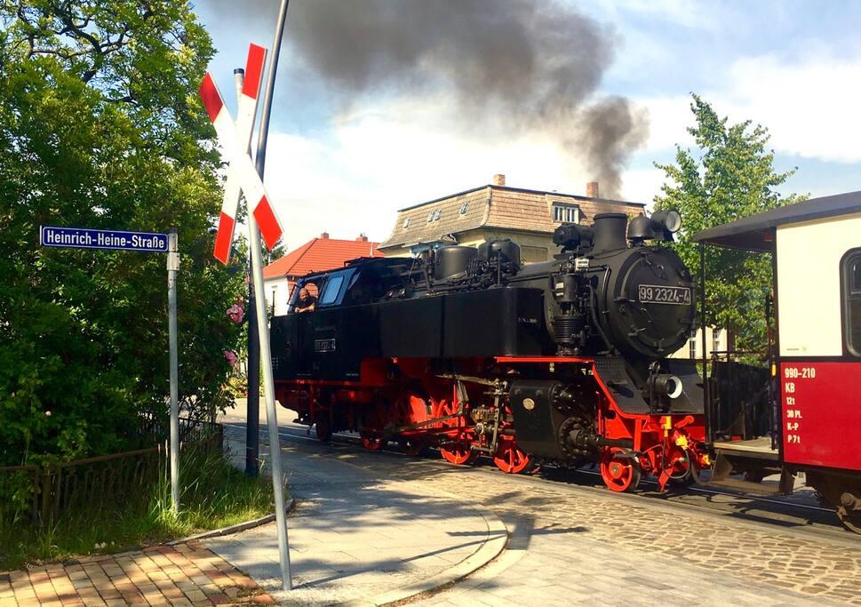 """Historische Bäderbahn """"Molli"""" - Haltestelle Goethestraße (2 Minuten zu Fuß)"""