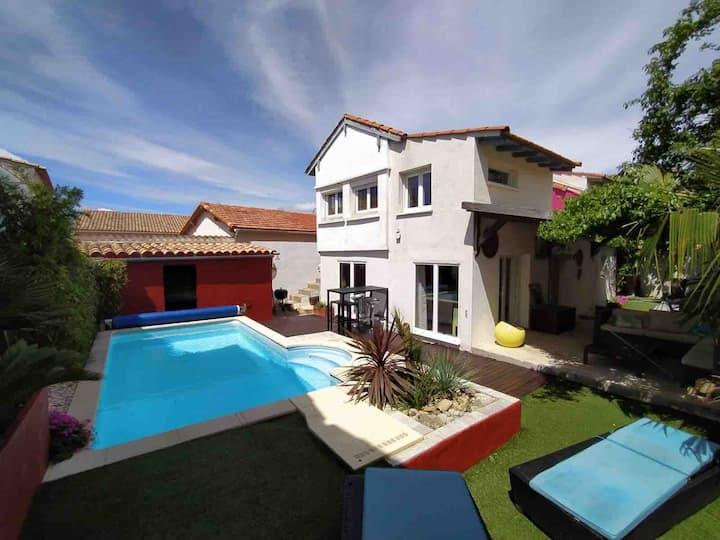 Villa moderne calme Pérols piscine proche plage