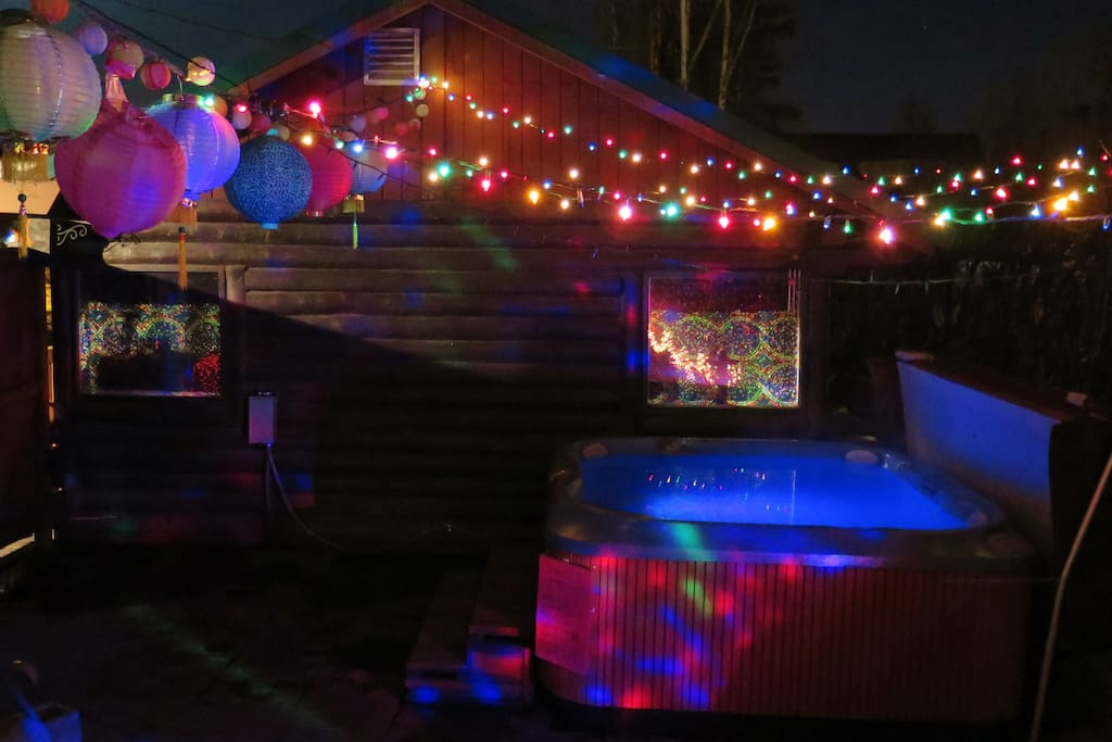 At night sit in the hot tub under a beautiful light display.