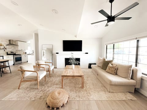 Aesthetic ranch style home with modern furnishings
