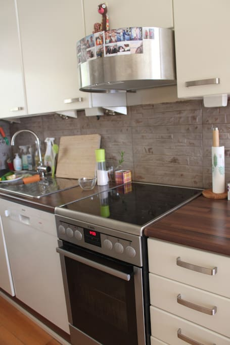The kitchen is fully equipped with a stove, dish washing machine, fridge and a freezer.