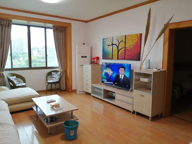 客厅的右边,55英寸高清电视,大空调,壁画