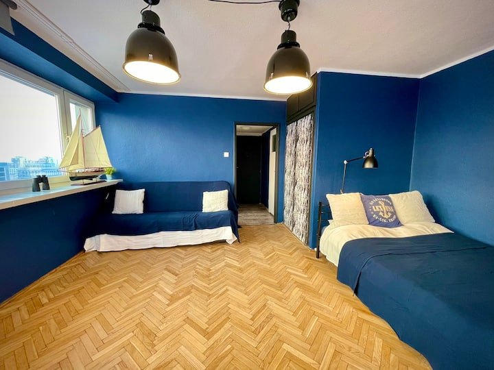 Super Apartament BLUE Centrum 2xLinia Metra WiFi