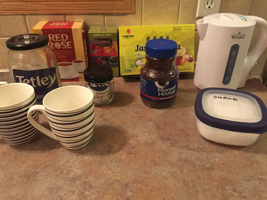 Hot teas to choose from and coffee for breakfast!
