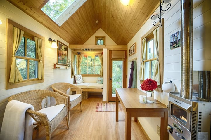 The great room, photo compliments of the Tumbleweed Tiny House Company