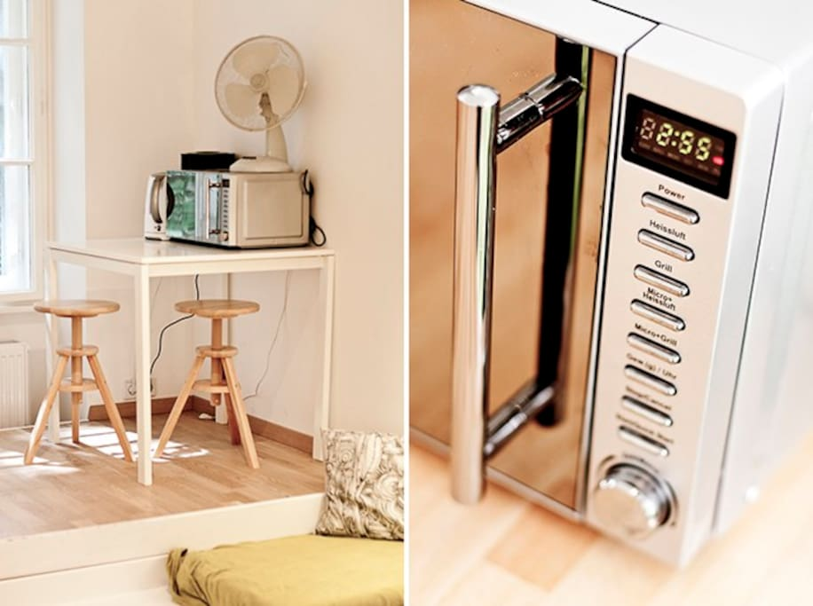 Combi microwave with hot air and gril function