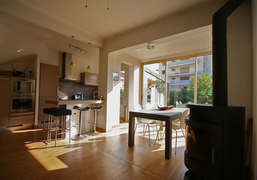 Kitchen & Dining with wood burner heater.