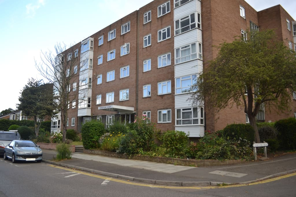 Outside view of apartment block in quiet road