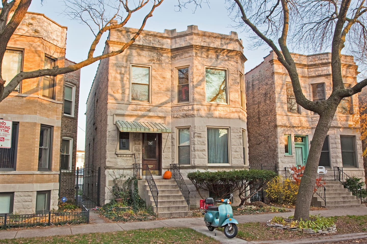 Classic Chicago Greystone on treelined street, just off Logan Boulevard.  Entire, private first floor apartment.