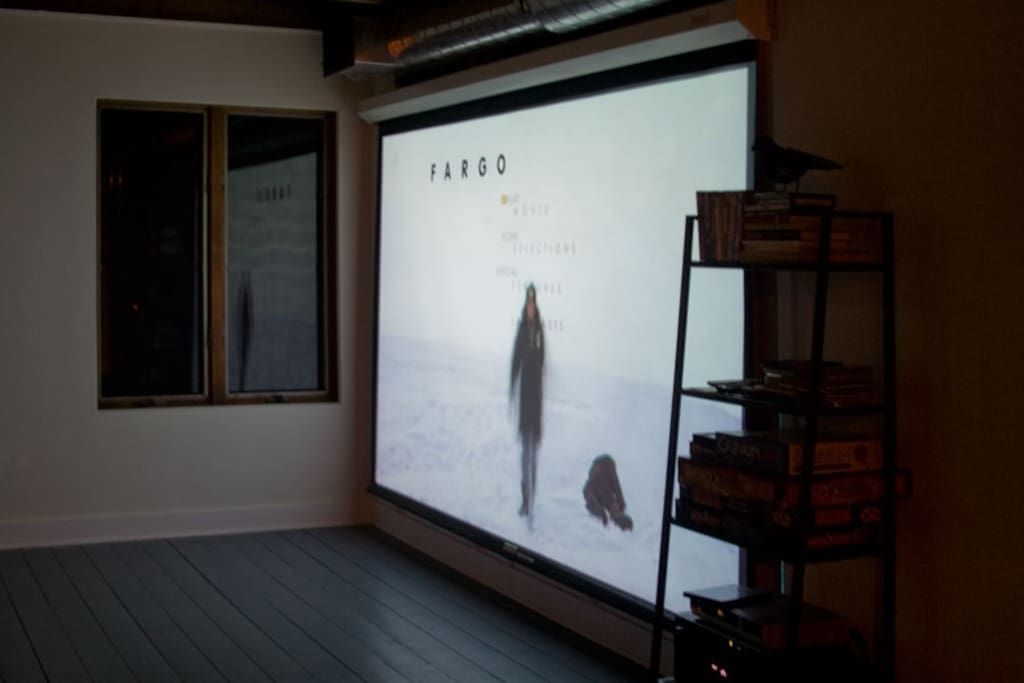 movie projector/screen in action