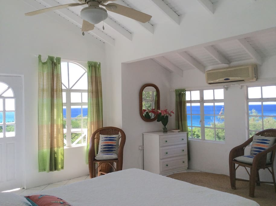 Panoramic Caribbean sea views from the upstairs master bedroom suite