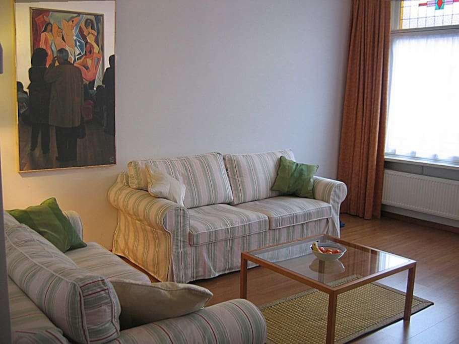 The spacious living room,  Each of the sofa beds is suitable for one or two persons.