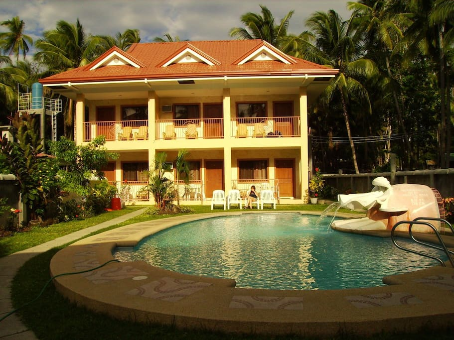 Front view with pool