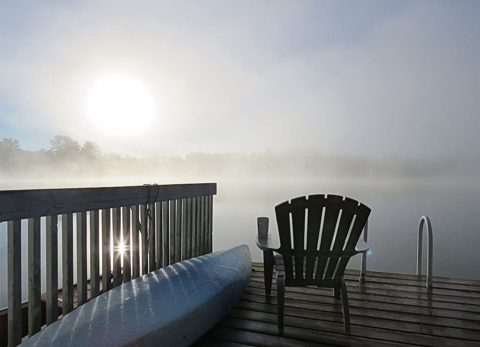 Fog on the lake early in the morning from the dock
