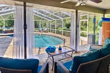 Listen to your favorite music while taking that relaxing dip in the pool or watch your favorite shows or movies on the pool deck equipped with a flatscreen TV and full surround sound system!  Whoa...