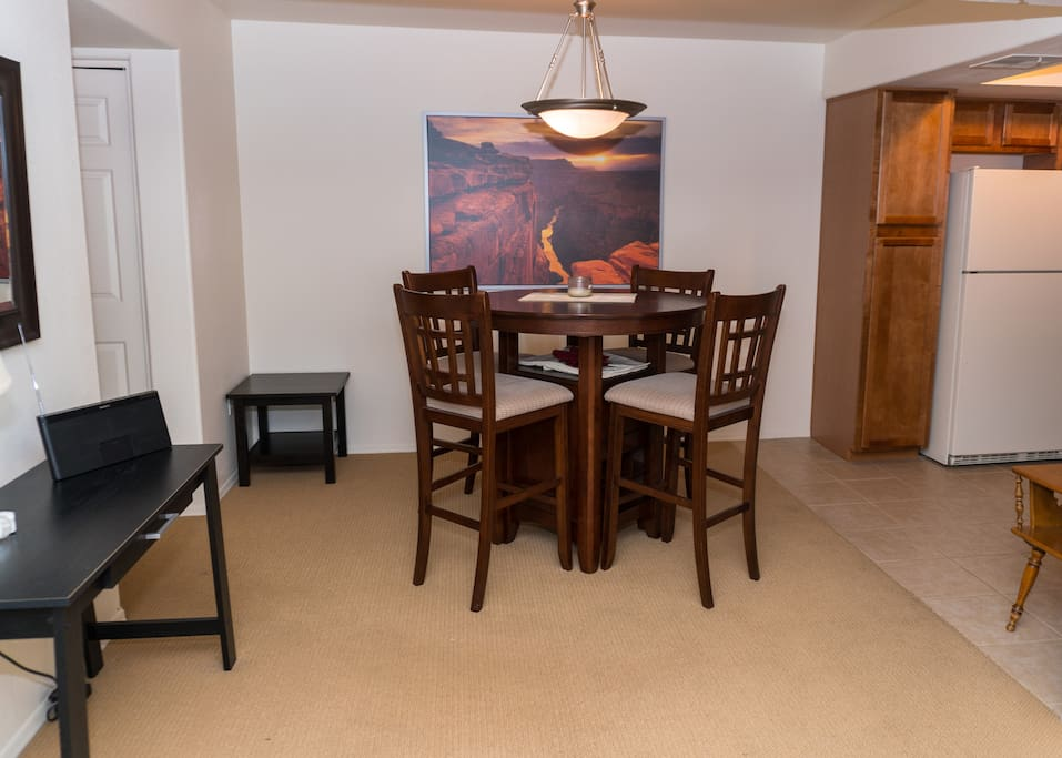 Dining space with desk area, stereo