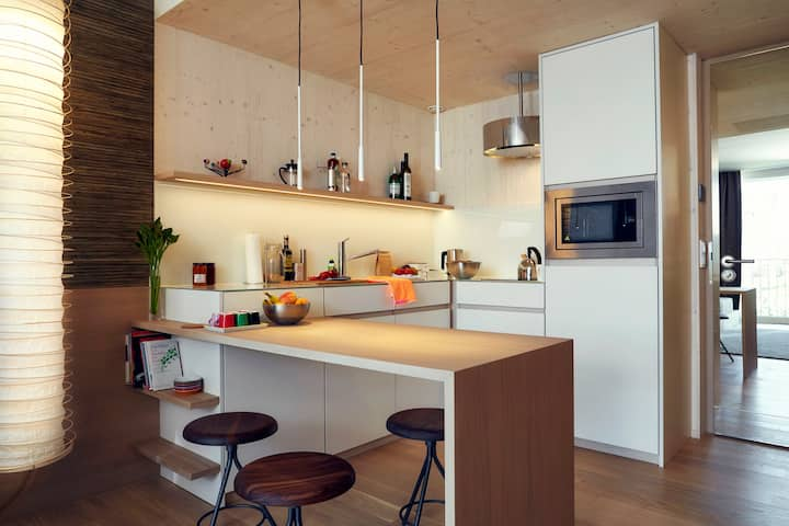 Sustainable apartment with fully equipped kitchen
