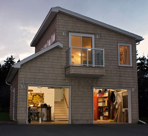 The loft sits above our detached hobby workshop. Access to the loft is through the workshop, upstairs.