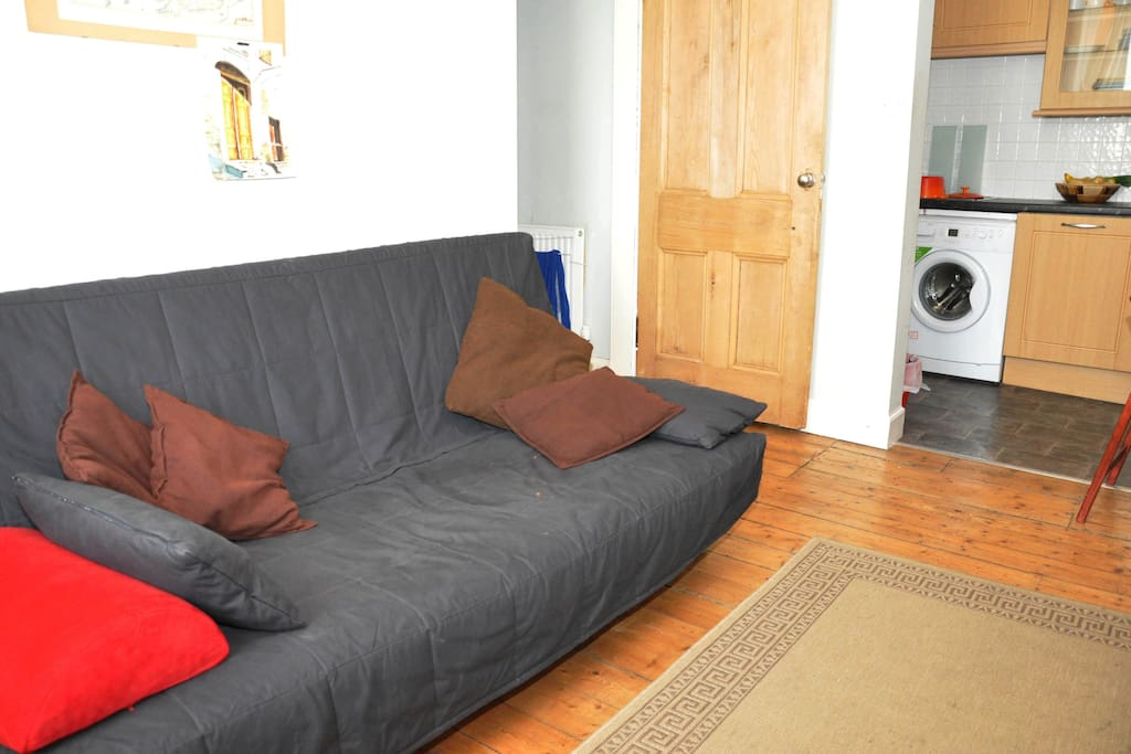 Living area and futon sofa bed