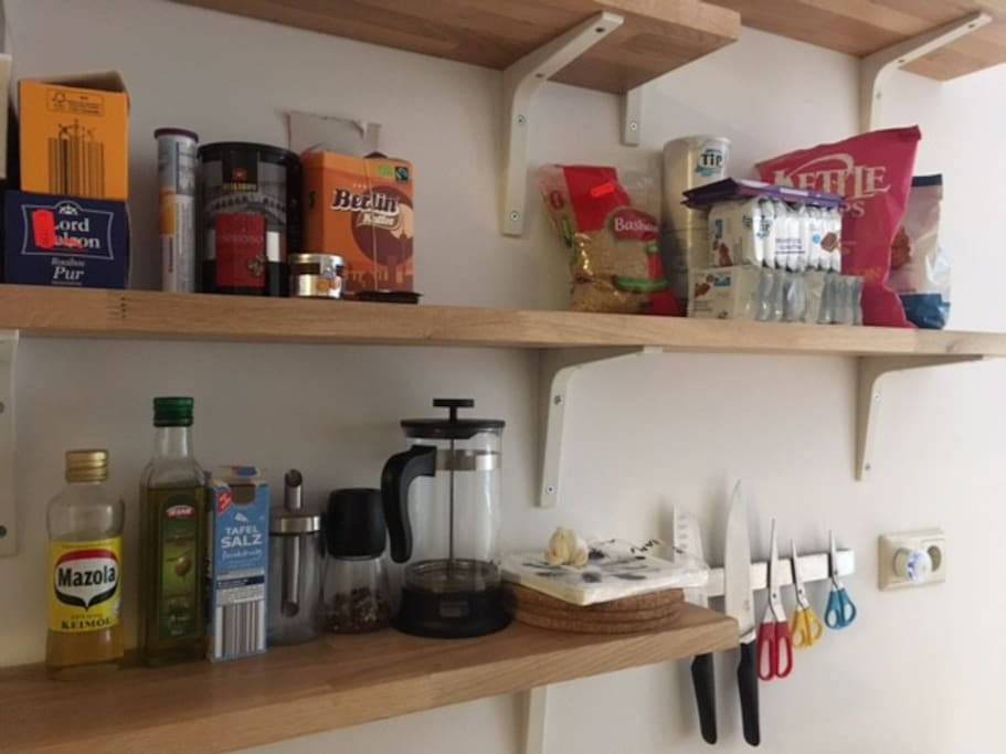 Ammenities for cooking, snacking, and making coffee