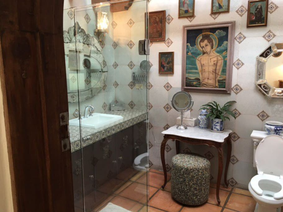 Ensuite bathroom with Spanish tiles