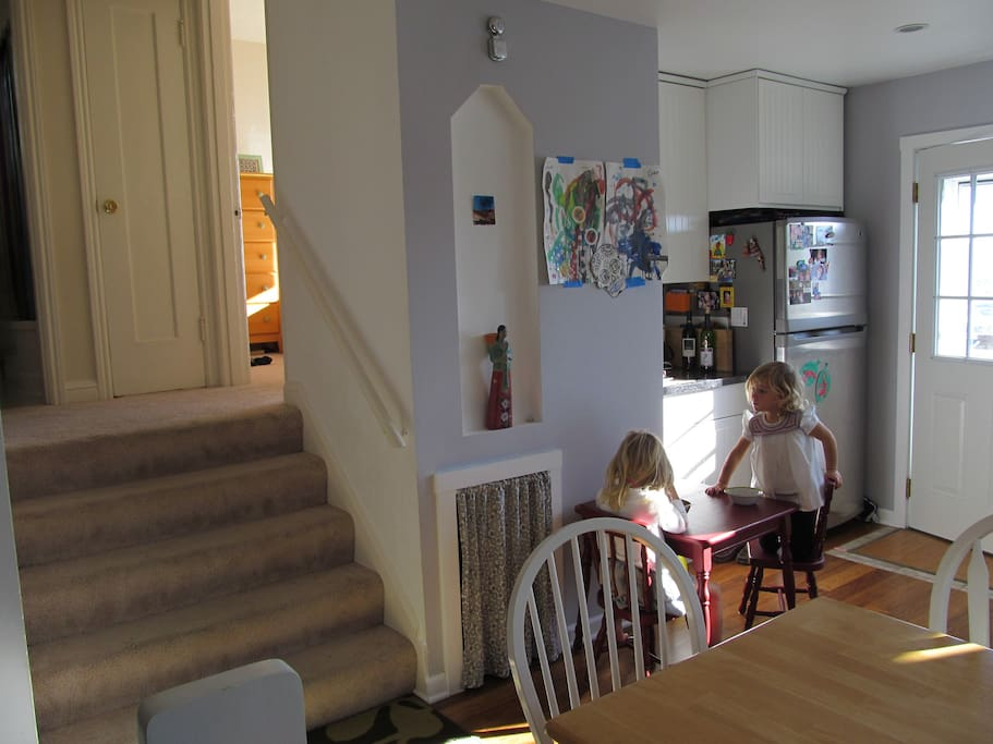 Our sun filled kitchen features a separate dining/craft table for our hungry smaller guests.