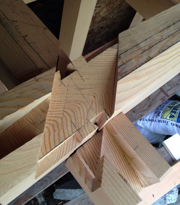 Japanese joinery, during construction of the roof structure
