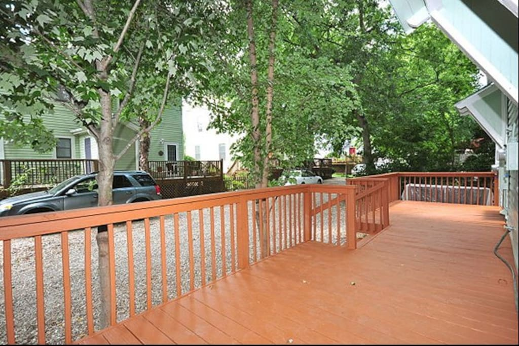 Back deck with additional seating.