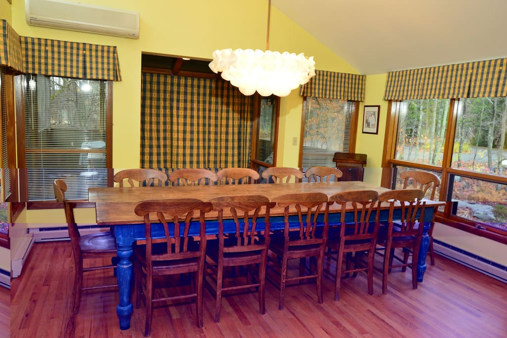 Country dining table seats 12.