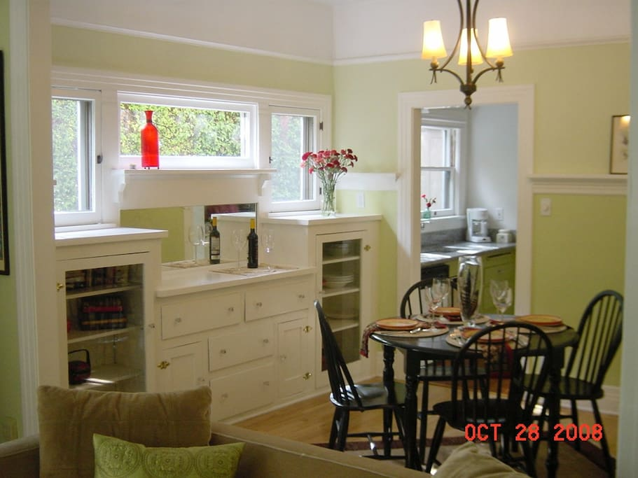 From living room to dining room- Note built in Cabinet!