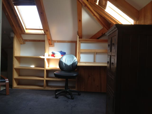 loft work area and skylights