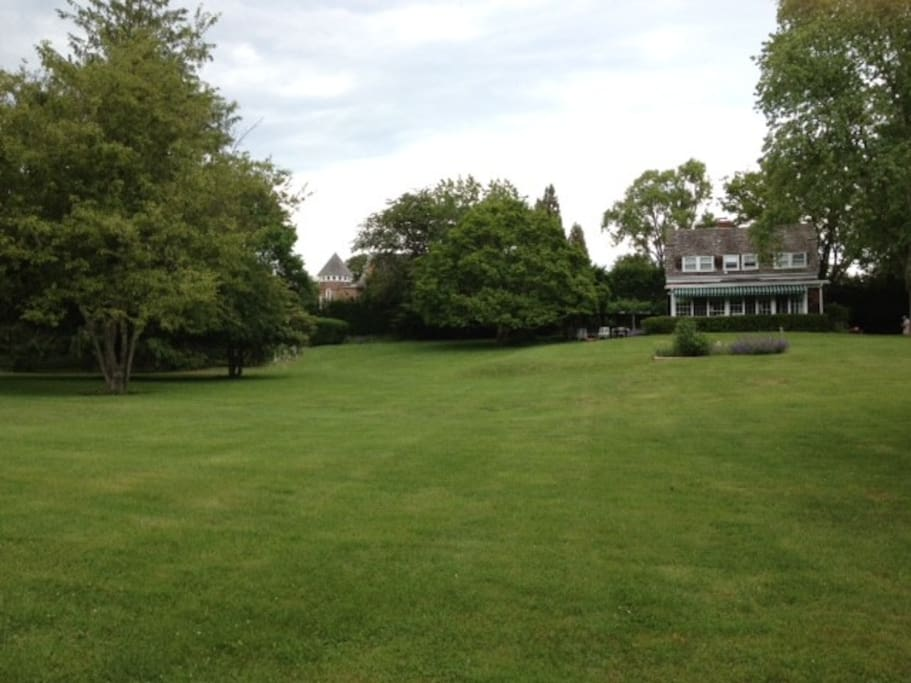 This private East Hampton home offers glorious grounds in the heart of East Hampton