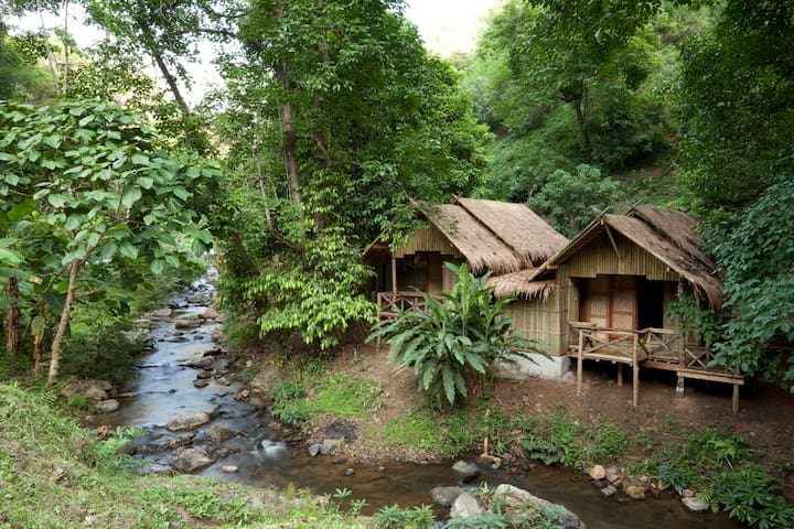 Cabins along the stream