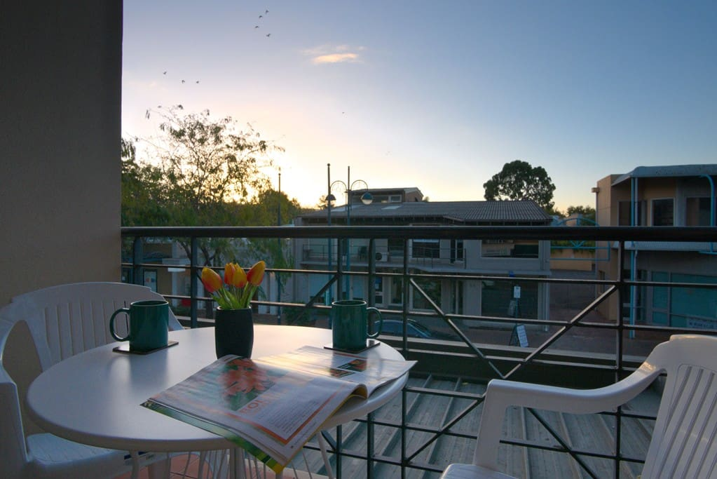 Enjoy a cuppa on the private balcony over looking Melbourne Street.