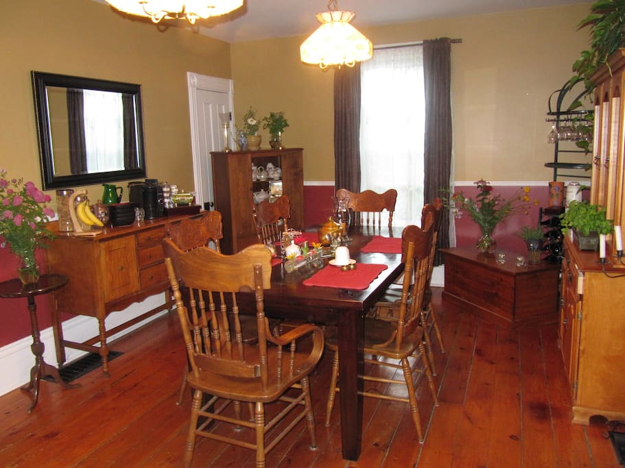The dining room where a complimentary continental breakfast is available in the morning.