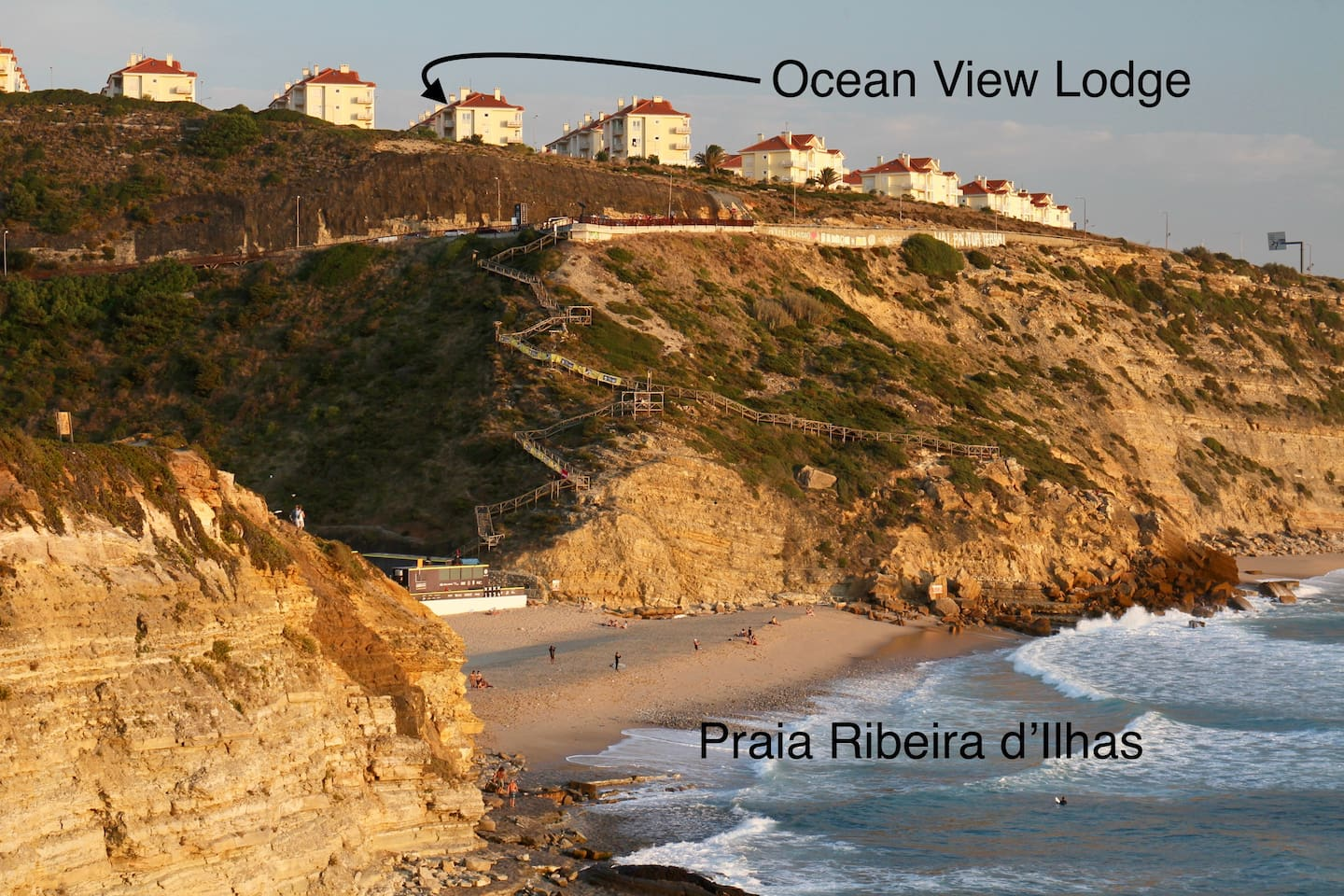 Stunning position overlooking Praia Ribeira d'Ilhas. Showing the charming wooden steps for the walk to the beach.