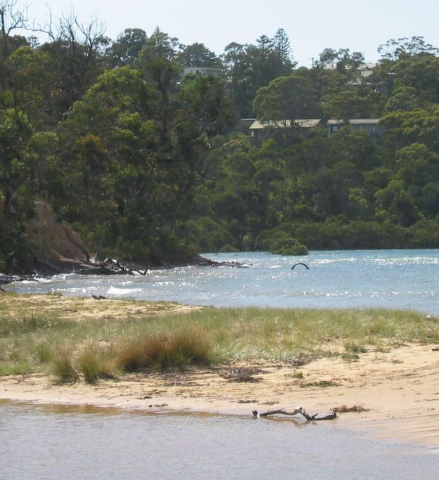 View of our house from the park, only bushland and the road is between us and lake.  Approx 20 min walk to town and 7 mins to Kiosk at Bar Beach.