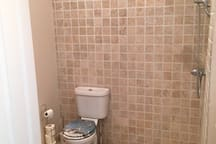 Wet room with shower, toilet and sink.  Shower curtain installed since photo taken.