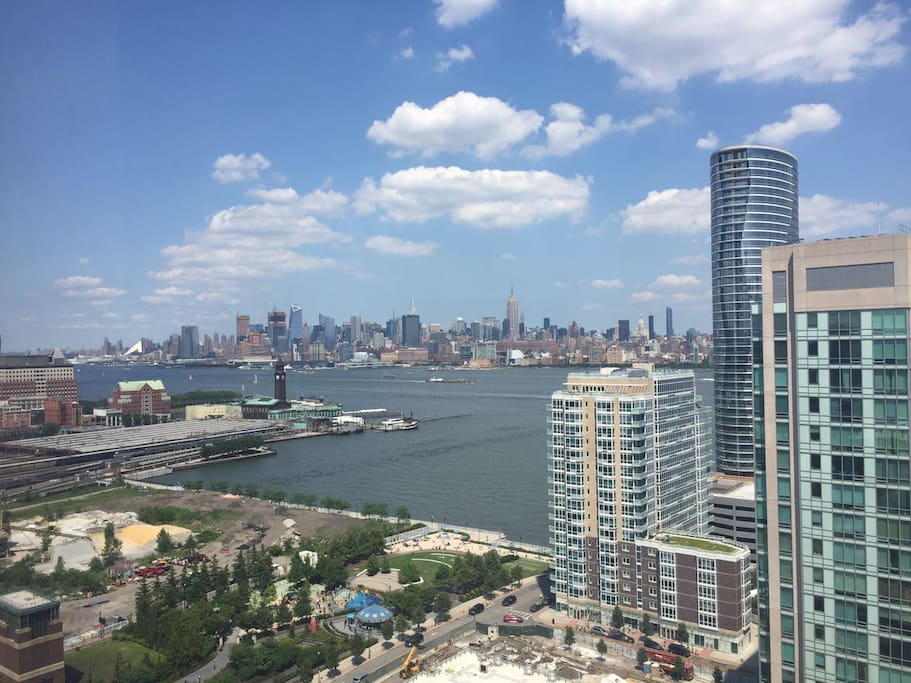 Amazing view of Manhattan from 26th Floor window. Empire state building right in the middle of the picture.