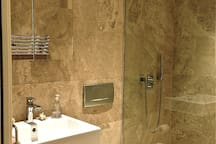 Private bathroom for guests with huge rainfall shower