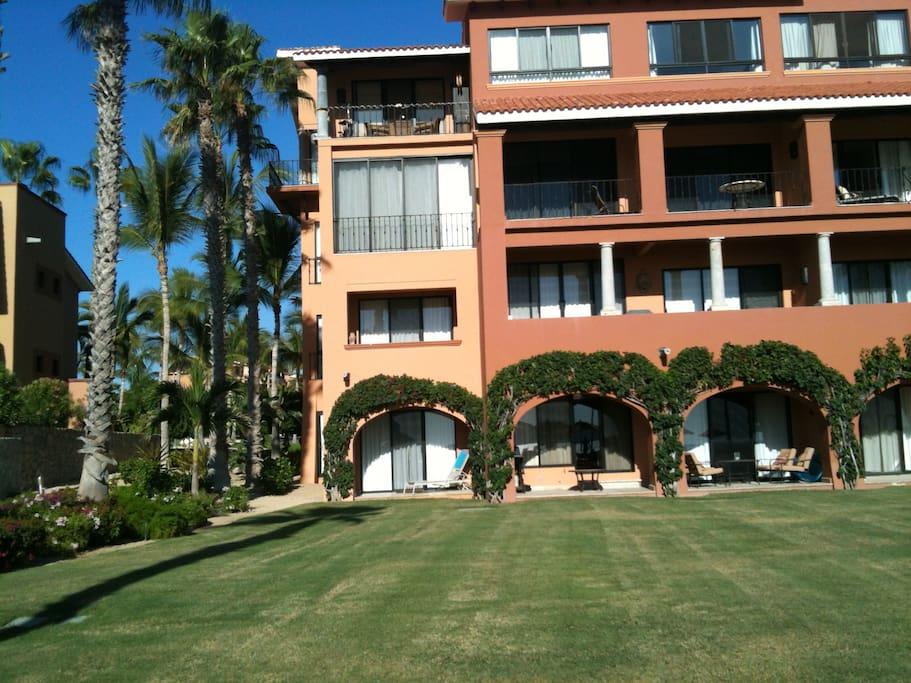 Ballena 204 is on the second floor on the far left.  Elevators provide easy access.