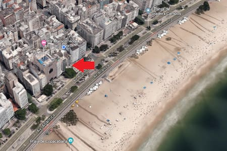 Quarto privado em frente a praia de Copacabana