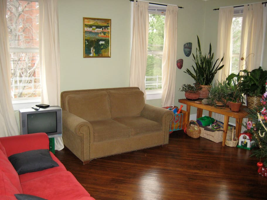 Lots of bright windows, couch and large love seat as well as rocking chair, TV trays, full cable and internet service