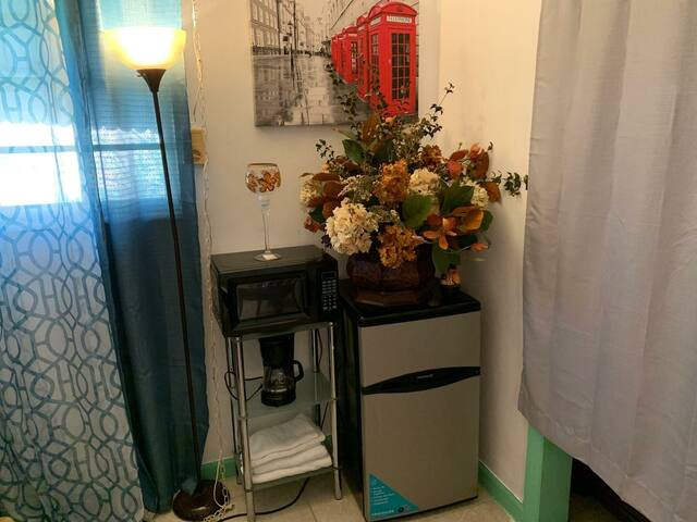 Own refrigerator, coffee marker and microwave in each room6