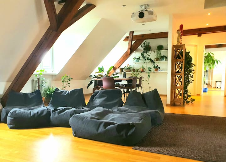Loft apartment, huge sun terrace, 5min from centre