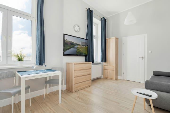 SALON: Sofa, stolik kawowy, TV, szafa
