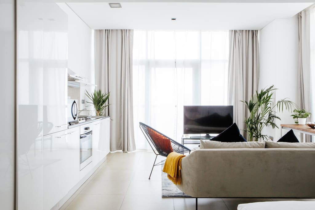 Open plan living space with urban accents